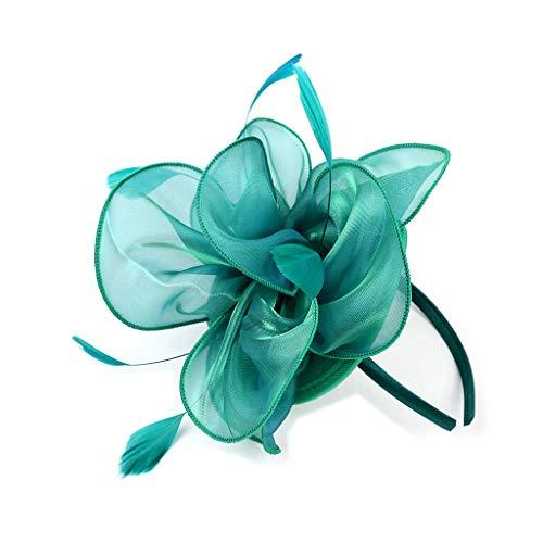 YSJOY Elegant Feather Silk Satin Flower Fascinator Bridal Wedding Hat Derby Hat Green ()