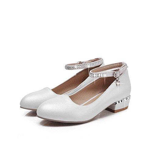 AllhqFashion Damen Weiches Material Niedriger Absatz Schnalle Rein Pumps  Schuhe Weiß ...