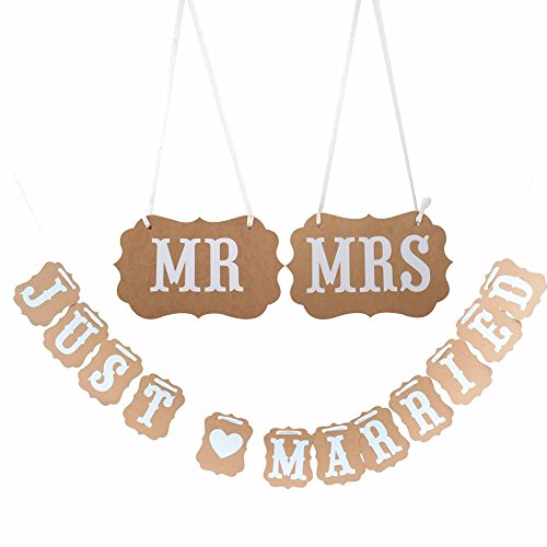 46ad95525e13 Veewon Mr Mrs   Just married Wedding Party Celebration Bunting Banner  Hanging Garland Decoration Kraft Paper with Ribbon - Buy Online in KSA.