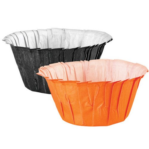 Wilton 415-0453 Halloween Assorted Black and Orange Ruffled Standard Baking Cups, 24 (Orange Halloween Cake)