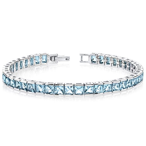16.75 Carats Swiss Blue Topaz Tennis Bracelet Sterling Silver Princess Cut by Peora