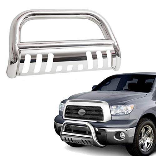 "TRIL GEAR 3"" Tube Front Bumper Brush Push Grill Guard Bull Bar for 2007-2019 Toyota Tundra Models/2008-2019 Toyota Sequoia All Models Stainless Steel"