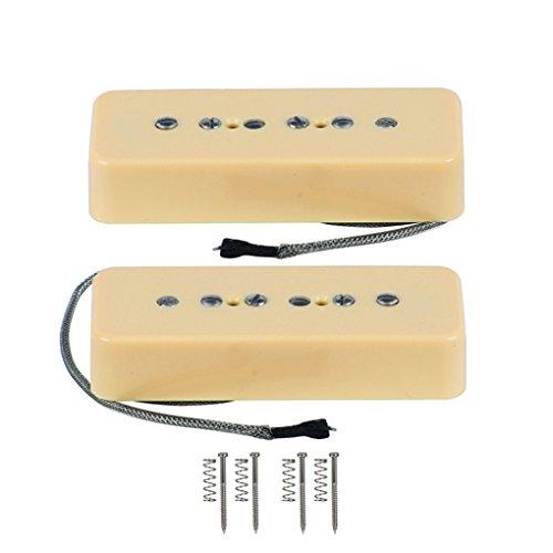 FLEOR Set of Vintage Alnico V Single Coil Soapbar P90 Neck Bridge Pickup 50/52mm Metal Braided Wire fit Electric Guitar, Cream Color