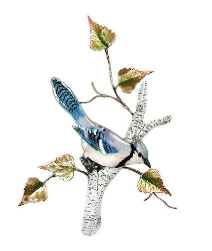 Bovano - Wall Sculpture - Blue Jay on Birch
