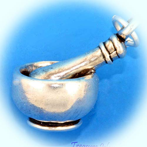 Heavy Mortar and Pestle Rx Pharmacy Bowl 3D .925 Solid Sterling Silver Charm Vintage Crafting Pendant Jewelry Making Supplies - DIY for Necklace Bracelet Accessories by CharmingSS from CharmingStuffS
