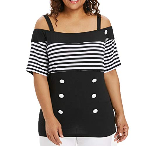 Sunhusing Women Plus Size Casual Striped Off Shoulder Sling Stitching Button Buckle Down Top ()