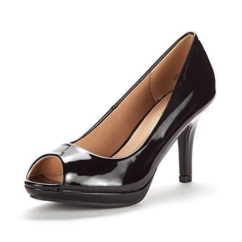 DREAM PAIRS Women's City_OT Black PAT Fashion Stilettos Peep Toe Pumps Heels Shoes Size 9 B(M) US