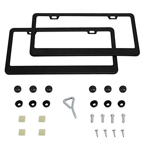 Luluhome License Plate Frame, 2 Pieces Black Stainless Steel Car Licence Plate Covers (Black) (Lulu Frames)
