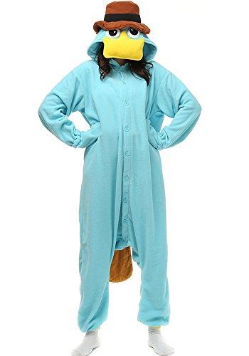 Dona-Brayman Adult Animal Pajamas - Platypus Duckbill One Piece Plush Cosplay Onsies Sleepwear (M (Height:5'3''-5'7''/160cm-169cm), Cyan)