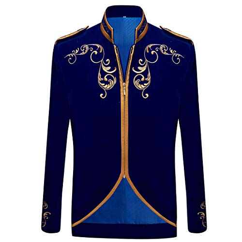 PYJTRL Mens Stylish Court Prince Black Velvet Gold Embroidery Blazer Suit Jacket (Blue, US 38R)