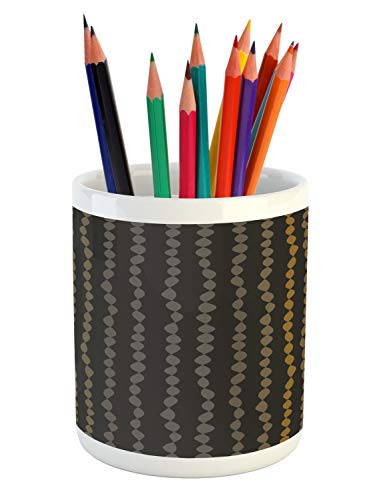Ambesonne Minimalist Pencil Pen Holder, Strings of Beads Pattern Earth Tones Featured Vintage Style Art, Printed Ceramic Pencil Pen Holder for Desk Office Accessory, Pale Coffee and Dark Taupe