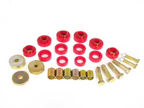 Prothane 7-139 Red Body Mount Kit with Hardware (1969 Body Camaro)