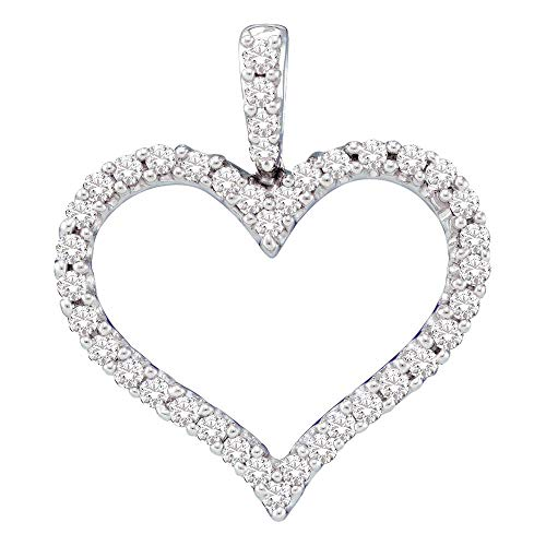 Jawa Jewelers 14kt White Gold Womens Round Diamond Classic Heart Outline Pendant 1/2 Cttw ()