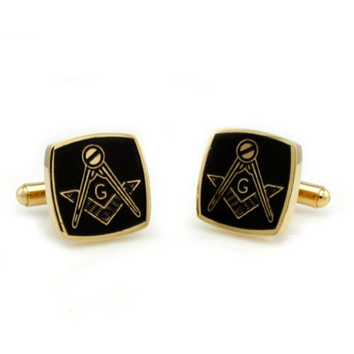 Two-Tone Stainless Steel Masonic Men's Cuff Links w/ Personalized - Personalized Two Tone Cufflinks
