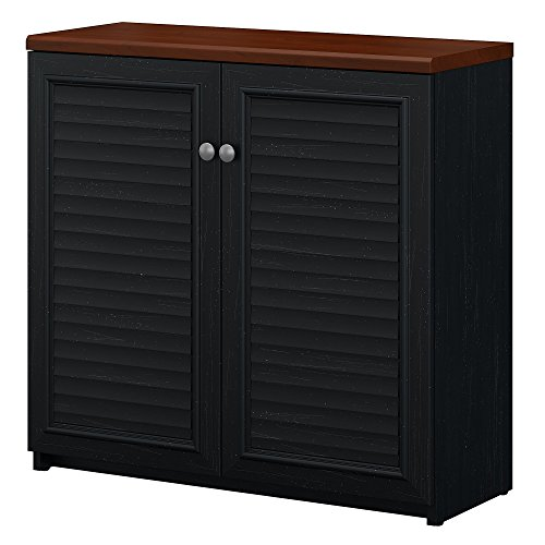 - Bush Furniture Fairview Small Storage Cabinet with Doors in Antique Black and Hansen Cherry
