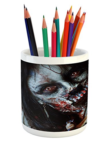 Ambesonne Zombie Pencil Pen Holder by, Scary Dead Woman with a Bloody Axe Evil Fantasy Gothic Mystery Halloween Picture, Printed Ceramic Pencil Pen Holder for Desk Office Accessory, (College Halloween Photos)