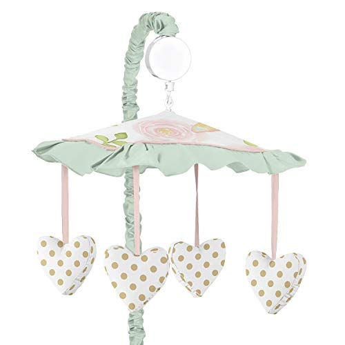 Sweet Jojo Designs Blush Pink, Mint, Gold and White Watercolor Rose Musical Baby Crib Mobile for Butterfly Floral Collection
