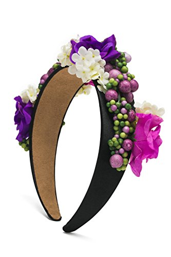 Floral Headband Wide Plastic Hair Band With Flowers Crown Party Boho Headpiece (Hot Pink, Purple, White, - Hot Girl Hippie