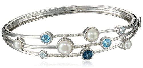 Sterling Silver Cluster Freshwater Cultured Pearl and Blue Topaz Diamond Bangle Bracelet (1/10 cttw, I-J Color, I2-I3 Clarity)