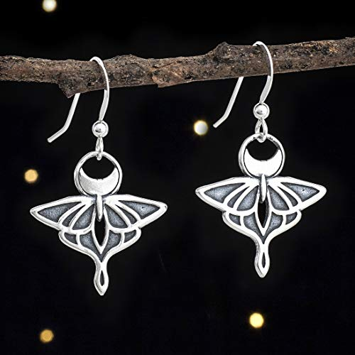 Sterling Silver Luna Moth Earrings - Double Sided - Solid .925 Sterling Silver, Ready to Ship