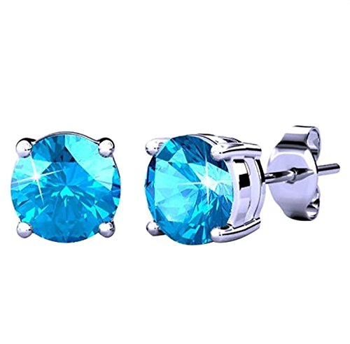 Poonsuk@lucky White Gold Plated Swarovski-Crystal-Elements-4-Prong-Solitaire-Stud Earrings on Sale!!!!!! (Blue) (Heart Swarovski Crystal Solitaire)