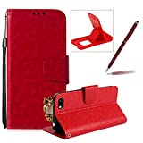 Red Strap Leather Case for Huawei Y5 2018,Wallet Flip Case for Huawei Y5 2018,Herzzer Retro Classic 3D Owl Design Solid Color Magnetic Stand Shockproof PU Leather Case with Soft TPU