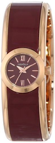 Ladies Bulova Two Tone Bangle Watch - Caravelle New York Women's 44L148 Analog Display Japanese Quartz Two Tone Watch