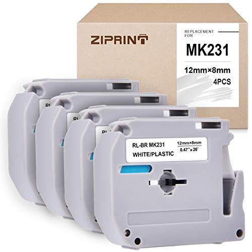ZIPRINT 4-Pack MK-231 Compatible with M Tape M231 MK231 M-K231 M-231 Label Tape for PT-70BM,PT-M95,PT-90,PT-70,PT-65,PT-70SR,PT-85 Label Maker, Black on White, 0.47inch (12mm) x 8m (26.2ft) (Series P Brother Touch M)