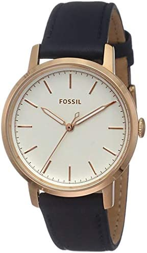 Fossil ladies Neely stainless steel and leather casual quartz watch