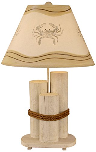 Coast Lamp Nude Two Tone Dock Pilings Table lamp with Crab Shade