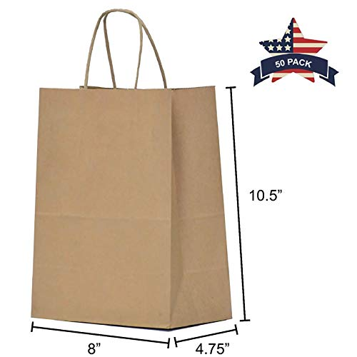 Brown Paper Bags with Handles - 50 Pcs 8x4.75x10.5 inches Bulk Gift Bags, Shopping Bags, Party Bags, Merchandise Bags, Goody Bags, Cub, Favor Bags, Business Bags, Kraft Bags, Retail Bags -