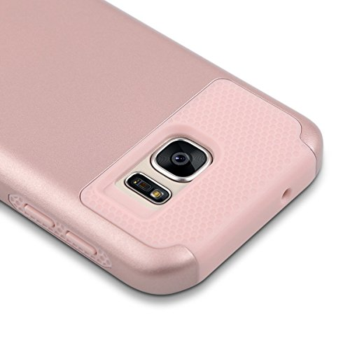 Carcasa S7, ULAK Galaxy S7 Funda Case doble capa del Silicona de alta Resistencia del Carcasa de Shell para Samsung Galaxy S7 (púrpura + negro) Rosa Oro