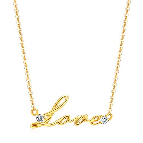 "Carleen Solid 14K Yellow Gold Diamond Cursive Love Pendant Letter Necklace for Women Girls, 16+2"" Gold Chain"