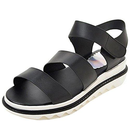 Toe Women Wedges heel Open Black Platform Slingback TAOFFEN Fashion Sandals 961 pdqx0tp