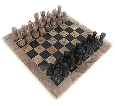 Marble Chess Set Bundle with Board and Chess Pieces in Storage Gift Box with Bonus Marble Wine Shot Glass