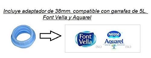 Dispensador de agua manual para garrafas - bomba compatible con botellas (PET) de 3, 5, 6, 8 y 10 litros - GARANTIA AQUANOVA - diámetro 48 mm, ...