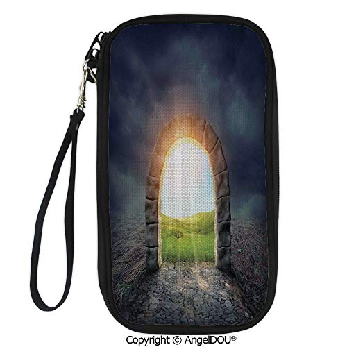 PUTIEN Zip Around Travel Card Holder Purse Mysterious Entrance to New Life with Greenland Wildflowers Sunbeams Wild Life Decorative for Women Girls -