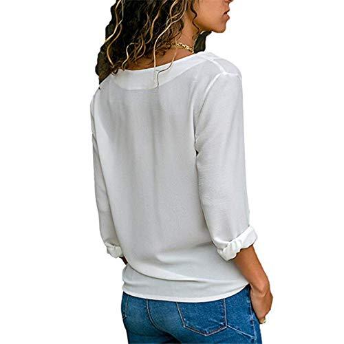 V Camicie Donna Bluse Shirts a Tinta Tops Scollo Gavemenget Unita Bianca Camicetta Manica Primavera Blouse Maglietta e Cime Casual Lunga Maglie Autunno HtIwHfYq
