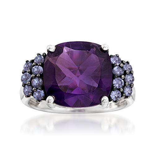 Ross-Simons 5.50 Carat Amethyst and .40 ct. t.w. Tanzanite Ring in Sterling Silver