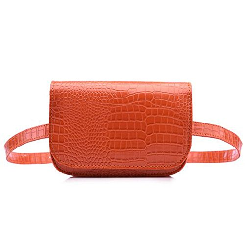 (Badiya Women's Mini Waist Bag Fanny Packs Crocodile Leather Cell Phone Pocket )