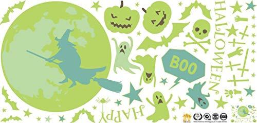 Wisdom Halloween Decorations Luminous Wall Stickers Happy Halloween Wall Decoration Stickers Ghost Pumpkin Witch Stickers 2,As Show,3060cm