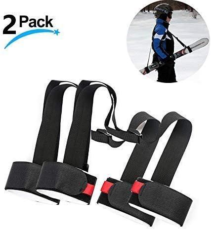 LAWOHO Shoulder Ski Carrier Straps Sling with Cushioned Holder 2 Pack - Adjustable - Ski Shoulder Lash Handle Straps