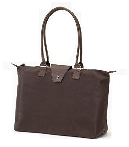 (Fold-Up Tote Bag with Long Handle Hand Bag (Chocolate Brown) )