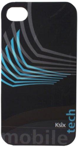 Ksix B0917FTP23-Tech Étui à rabat pour Apple iPhone 4/iPhone 4S (accéder facilement à l'appareil photo les branchements et les ports) Noir et Bleu
