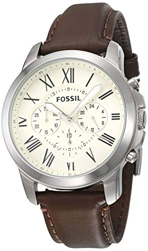 Fossil Grant Cream Dial Stainless Steel Men's Watch FS4735IE