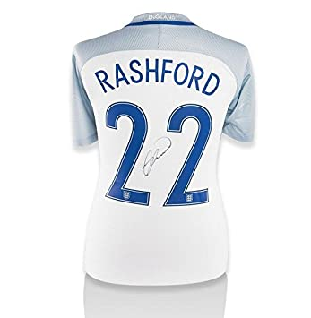 db44748d2dc Marcus Rashford Hand-Signed 2016/17 England Home Shirt - Number 22  Autograph - Autographed Soccer Jerseys at Amazon's Sports Collectibles Store