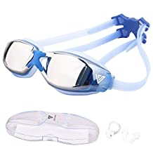 VITCHELO No Fog Swimming Tinted Mirrored Goggles Suitable for Adults, Men, Women, Youth & Ladies. Comfortable & Leakproof Swim Glasses With UV Protection. Free Nose Clip & Ear Plugs Included