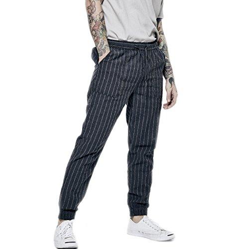 BaronHong Men's Striped Linen Slim Pants with Drawstring(darkblue,3XL) ()