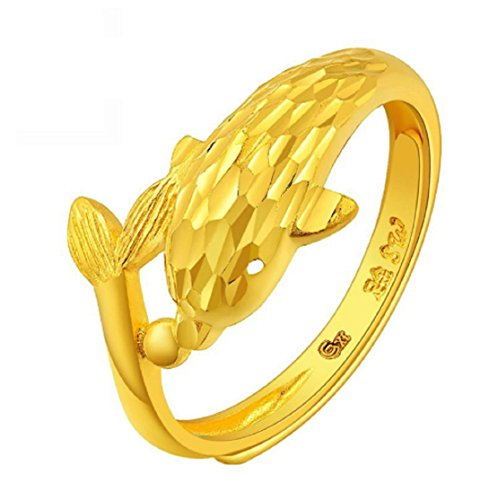 GOWE 24K Pure gold guardian The dolphins Living circle For women gold ring personality Unique lovely Small dolphins 999 solid (24k Dolphins Earrings)