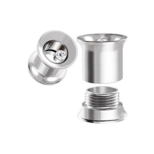 BIG GAUGES Pair Internally Threaded Steel Clear Crystal 0g Gauge 8mm Double Flared Piercing Jewelry Ear Plugs Lobe Tunnel BG0056 - Flare Crystal